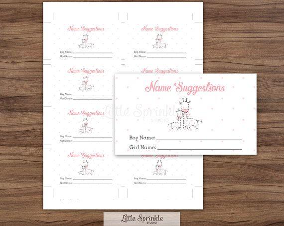 baby name suggestion cards pink giraffe by littlesprinklestudio
