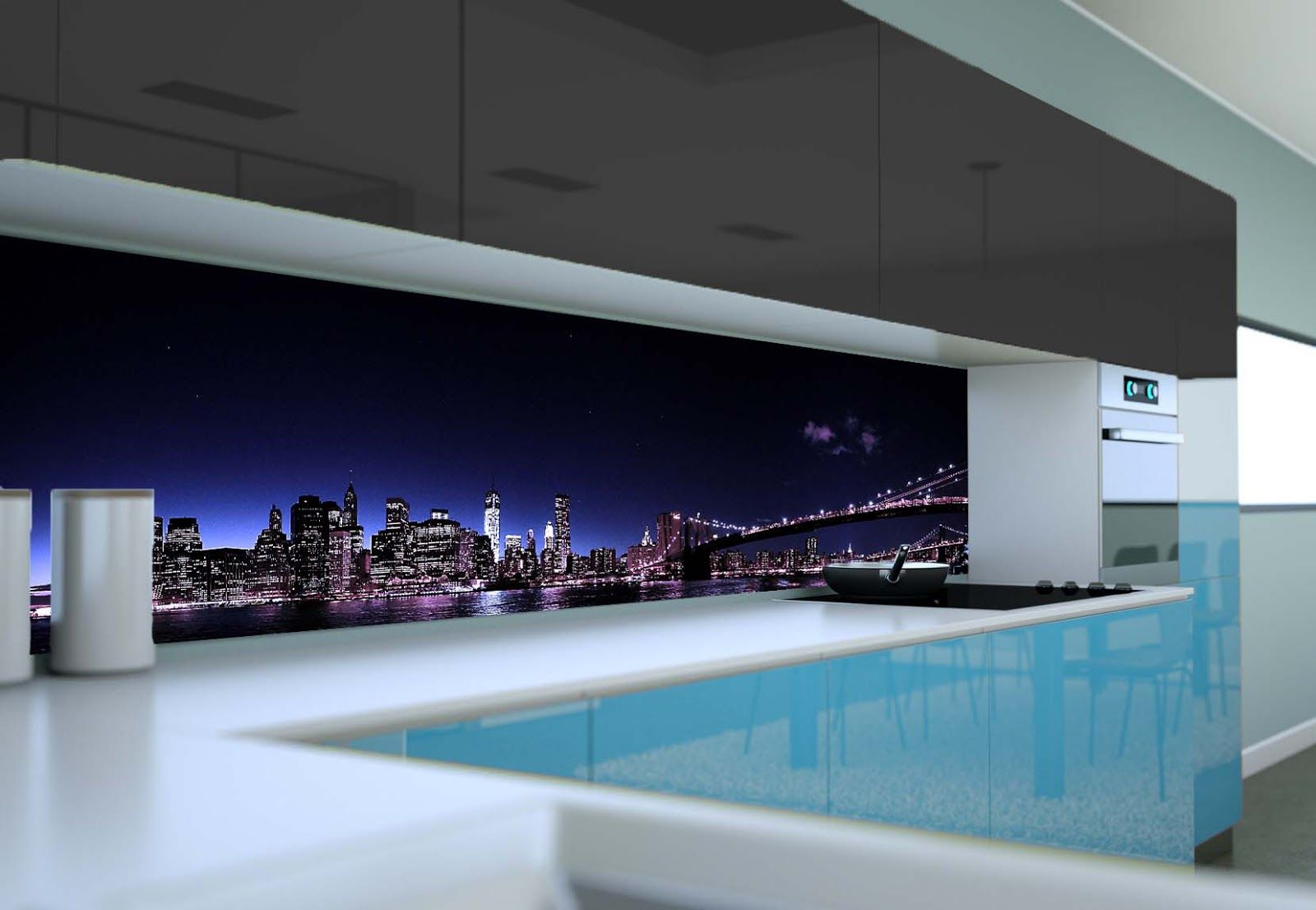 3D glass panels with photo printing to get a 3D backsplash design ...