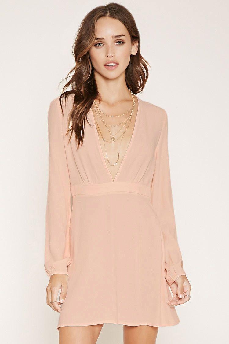 Plunging V-Neck Mini Dress