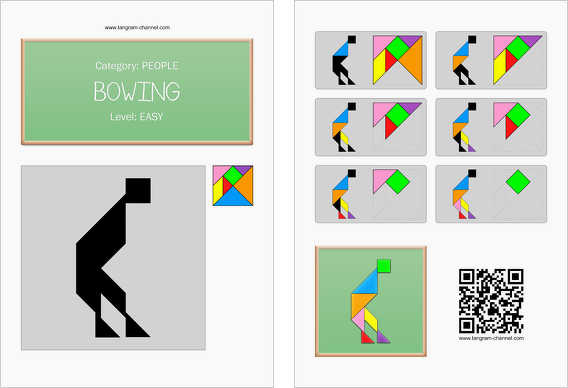 Tangram worksheet 71 : Bowing - This worksheet is available for free download at http://www.tangram-channel.com