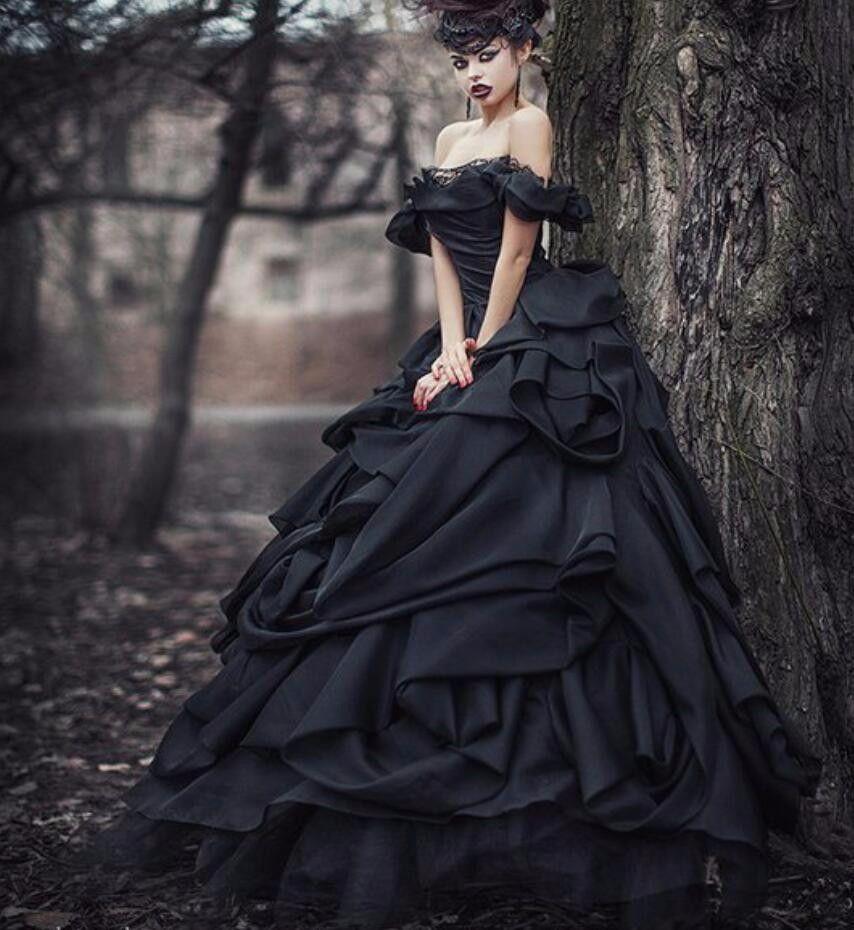 Black Ball Gown Githic Vintage Satin Wedding Dresses Off The Shoulder Satin Colorful Non White Brida Gothic Wedding Dress Black Ball Gown Black Wedding Dresses [ 930 x 854 Pixel ]