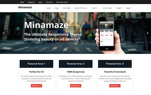 Minamaze features a custom theme options panel allowing you to set ...