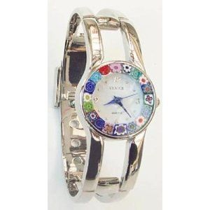 Firenze Millefiori Silver Bangle Watch - White Dial [Watch] - http://www.specialdaysgift.com/firenze-millefiori-silver-bangle-watch-white-dial-watch/