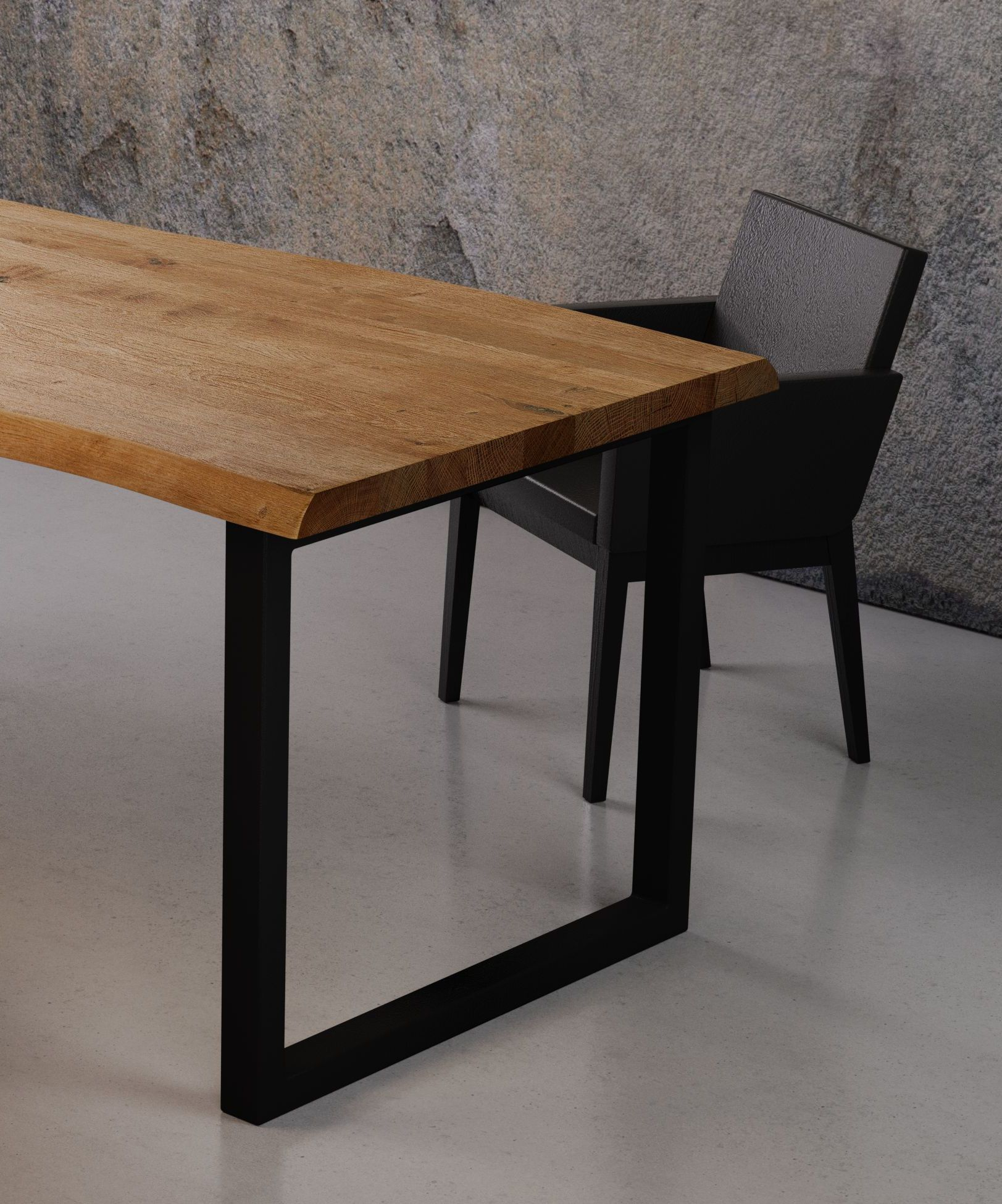 Dining Table Made Of Raw Wood, R Black Industrial And