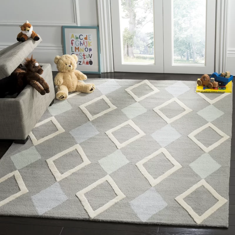 Geometric Handmade Tufted Wool Gray Area Rug In 2020 Area Rugs Rugs Grey Area Rug