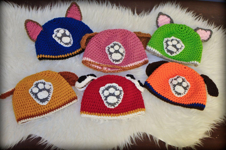 Conjunto de dos pata patrulla inspirado sombreros ganchillo ...