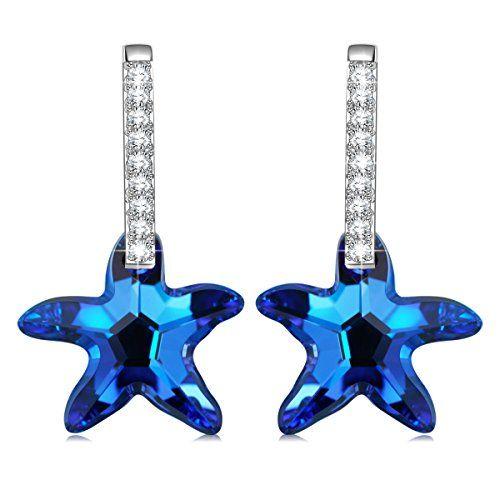 a4995c0bd KATE LYNN Sea Star Ear Stud Made with Bermuda Blue Swarovski Crystals Women  Drop Earrings Christmas