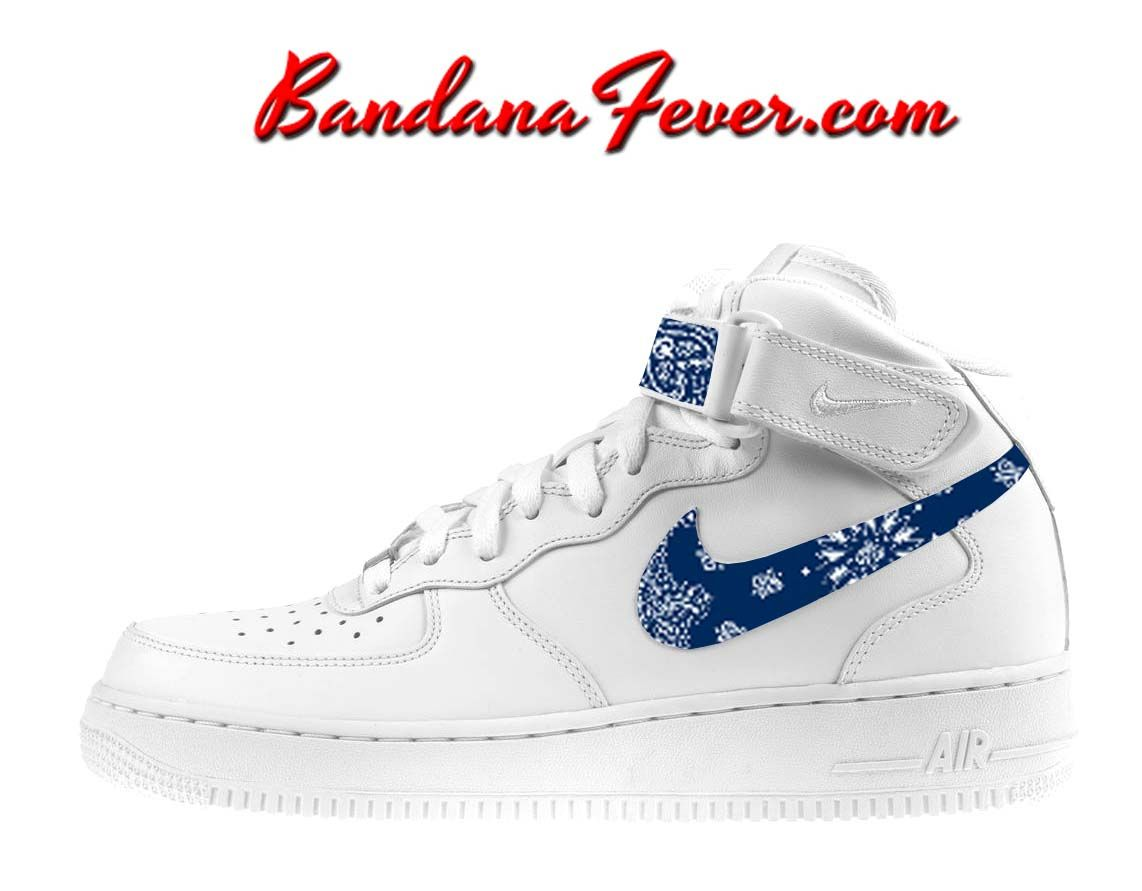 Custom Navy Bandana Nike Air Force 1 Shoes White Mid