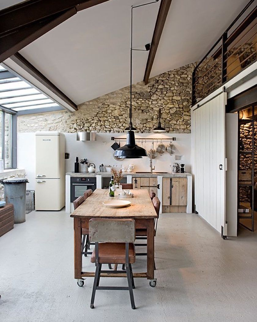 French Farmhouse Kitchen Design: An Extraordinary French Farm Mix Of Materials. Image Via