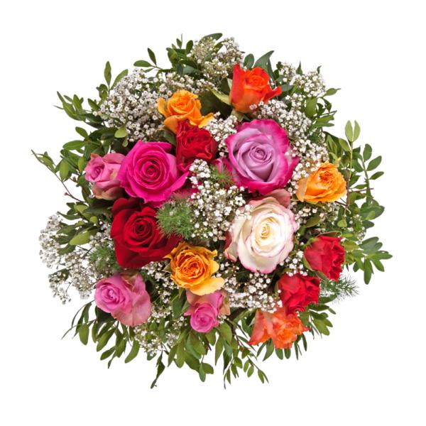 """Pflanzen-Kölle Blumenstrauß  """"Rosenzauber"""". Unser fröhlich bunter Floristik-Strauß """"Rosenzauber"""" sorgt garantiert für ein herzerwärmendes Strahlen in den Augen des Beschenkten.  Blumendeko zaubert flugs ein wohnliches Interieur in Euer Zuhause, verströmt einen tollen Duft und wird Euch sicher lange Freude bereiten."""