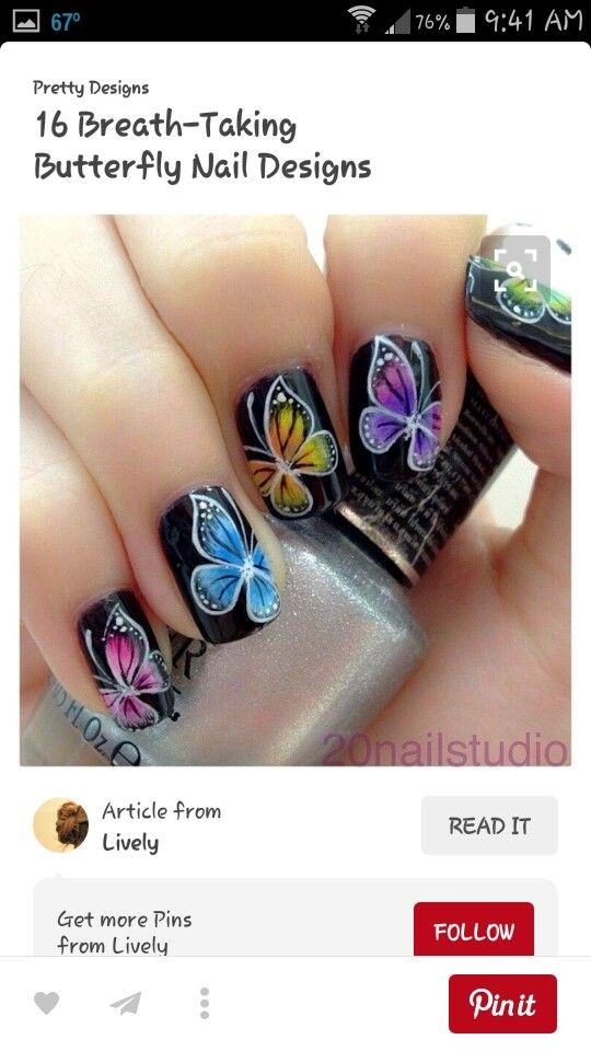 Pin by rachael erway on hairnailsmakeup pinterest makeup 16 beautiful breathtaking butterfly nail designs page 16 of 16 beautycross prinsesfo Image collections