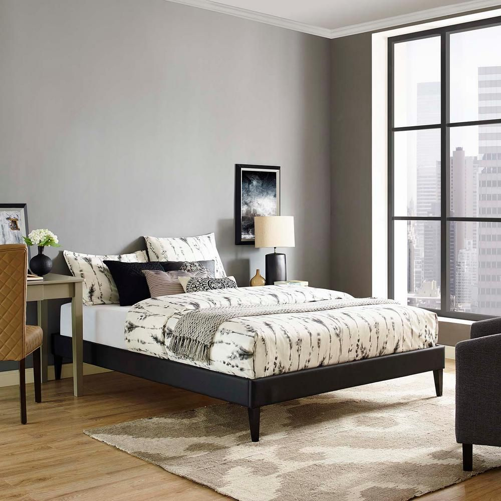 Modway Tessie Black Full Bed Frame With Squared Tapered Legs Mod
