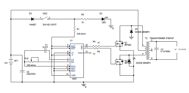 simple 100w inverter get more information about this circuit at http://www