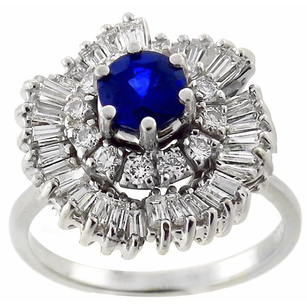 0.50ct Round Cut Sapphire 1.00ct Round Cut Diamond Cluster Ballerina 18k White Gold Ring - See more at: http://www.newyorkestatejewelry.com/rings/0.50ct-sapphire-1.00ct-diamond-cluster-ballerina-ring/22920/1/item#sthash.a0SWtRez.dpuf