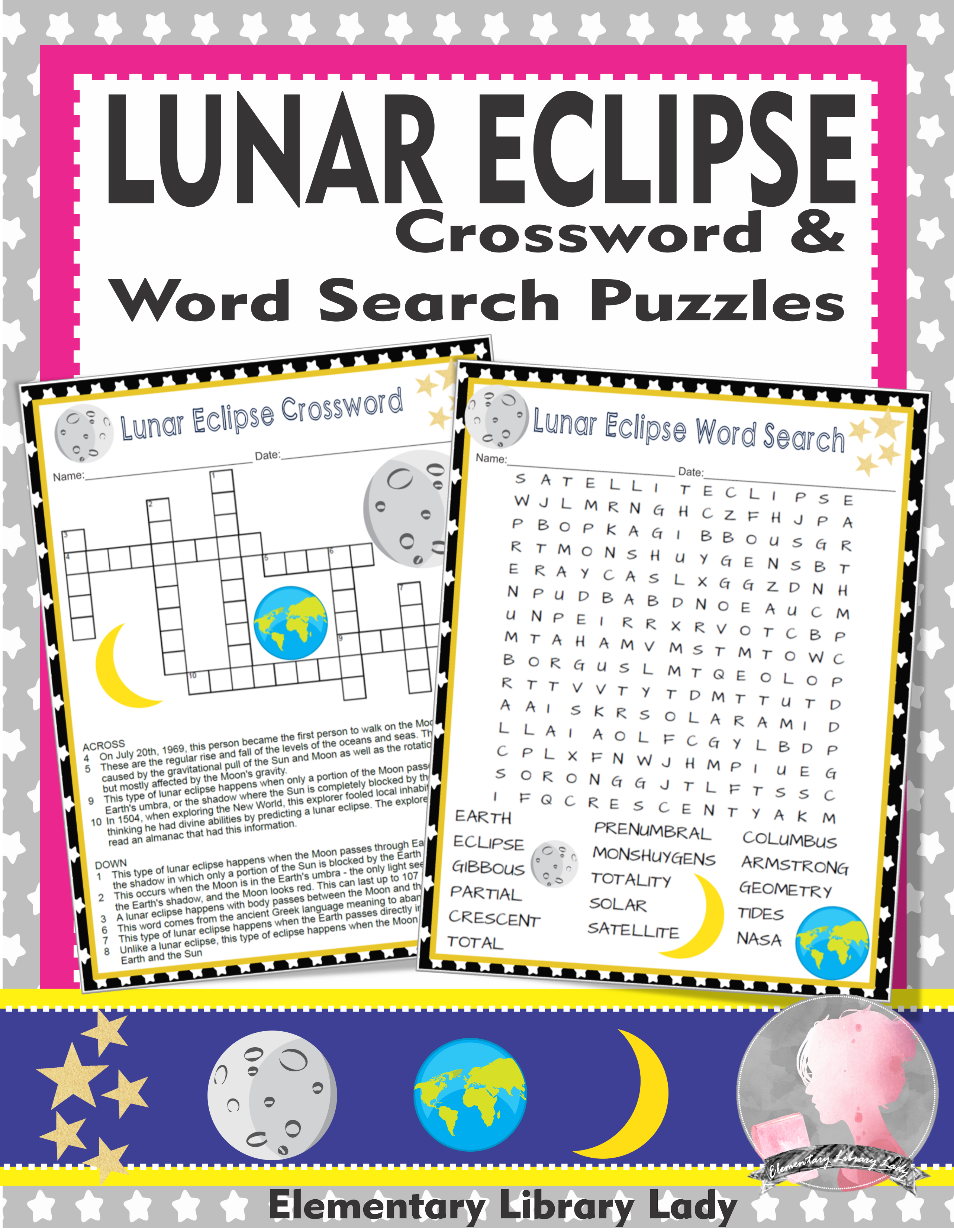 Lunar Eclipse Activities Crossword Puzzle And Word Search