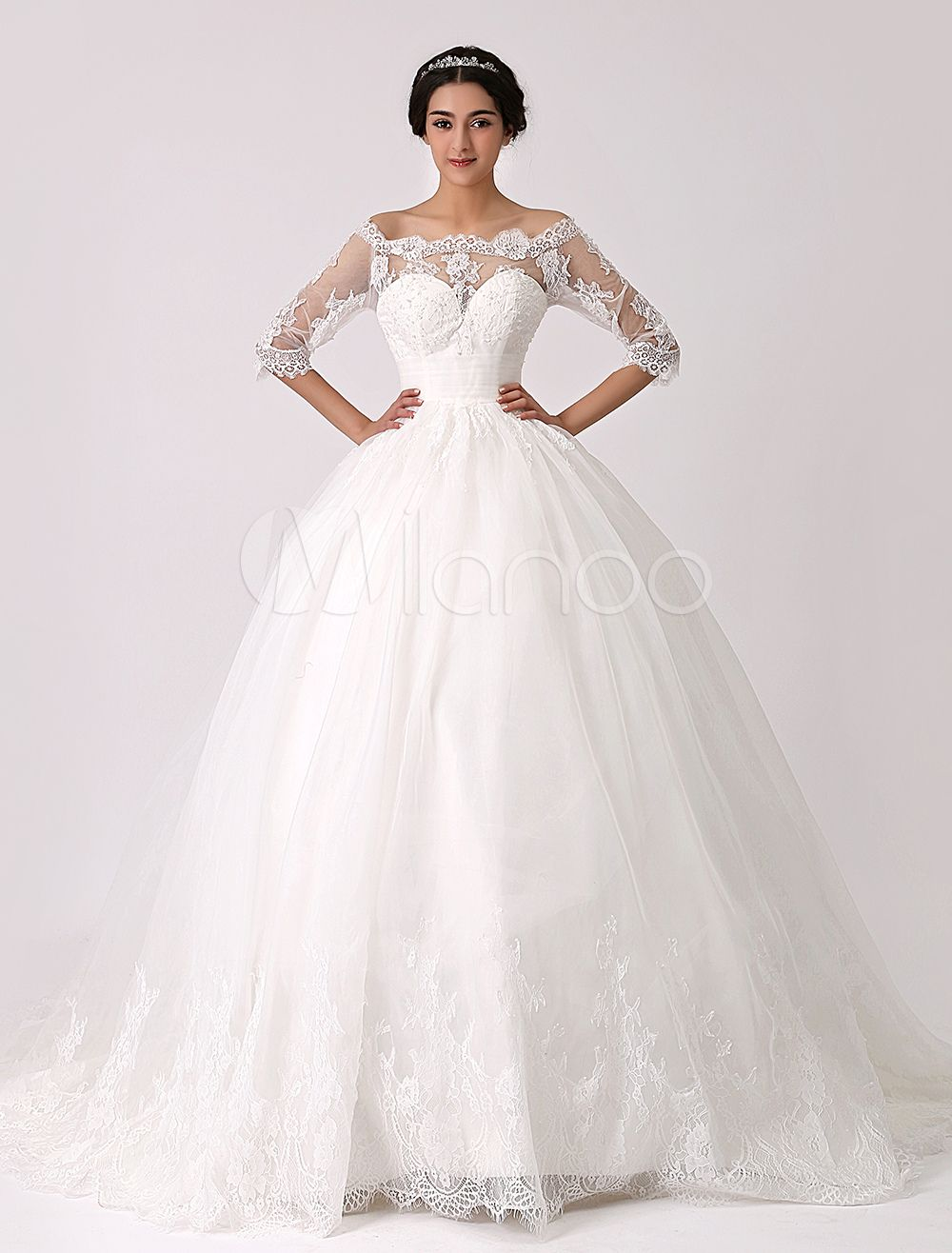Off The Shoulder Princess Lace Wedding Dress With Illusion