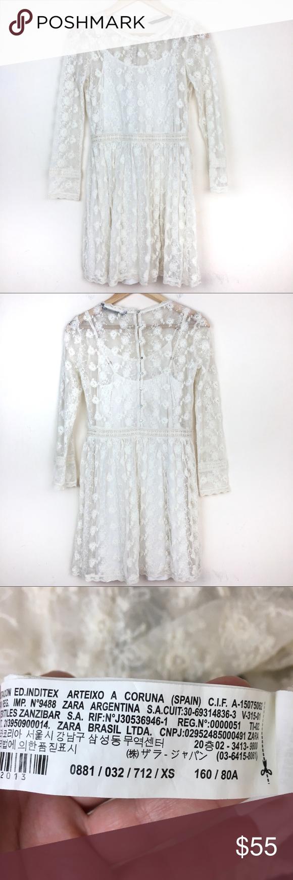 White lace dress zara  Zara Off White Lace Long Sleeve Mini Dress  My Posh Picks  Pinterest