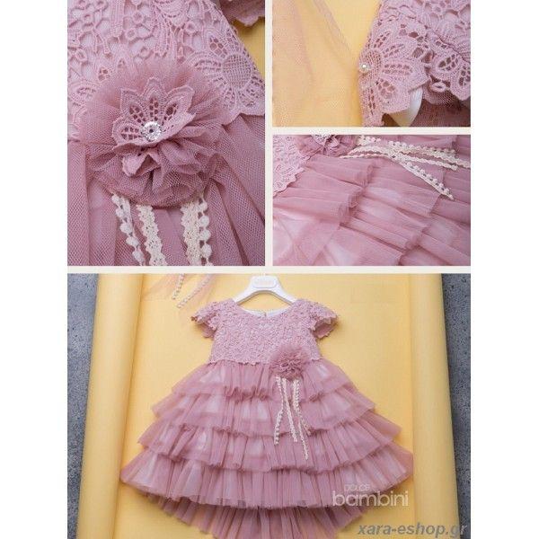 3794a8d8836 Βαπτιστικό φόρεμα Dolce Bambini σε σάπιο μήλο με ουρά, δαντέλα και τούλι,  Φορεματάκι βαπτιστικό