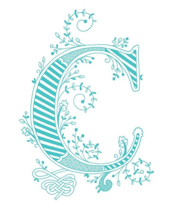Hand Drawn Monogrammed Print 8x10 The Letter C In Color Blue