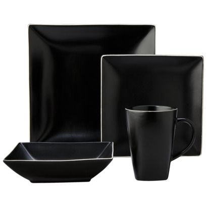 Threshold 16 piece porcelain dinnerware set black i - Vajillas modernas ...