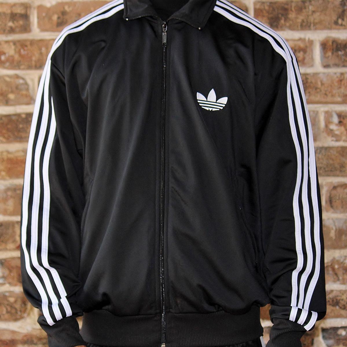 White with black stripes adidas hoodie jacket size Depop