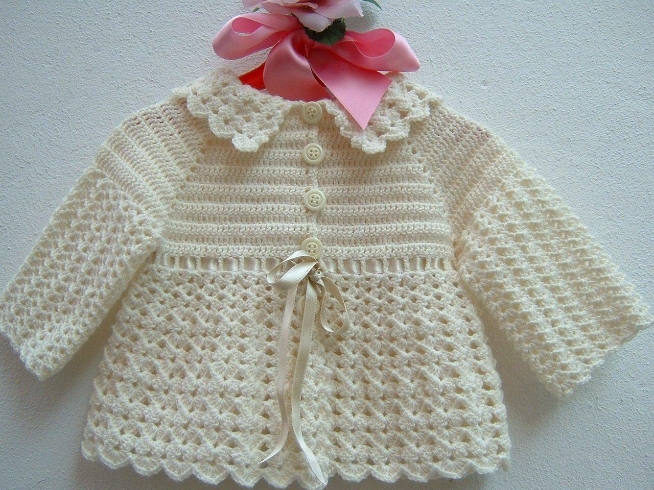 brand new 95eca 078fc Golfino da neonata all'uncinetto-Mini cardigan di lana ...