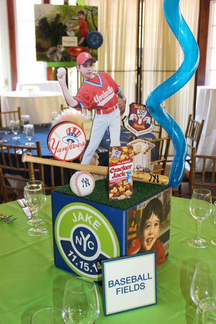 Baseball Themed Photo  Cube Centerpiece for Central Park Themed Bar Mitzvah