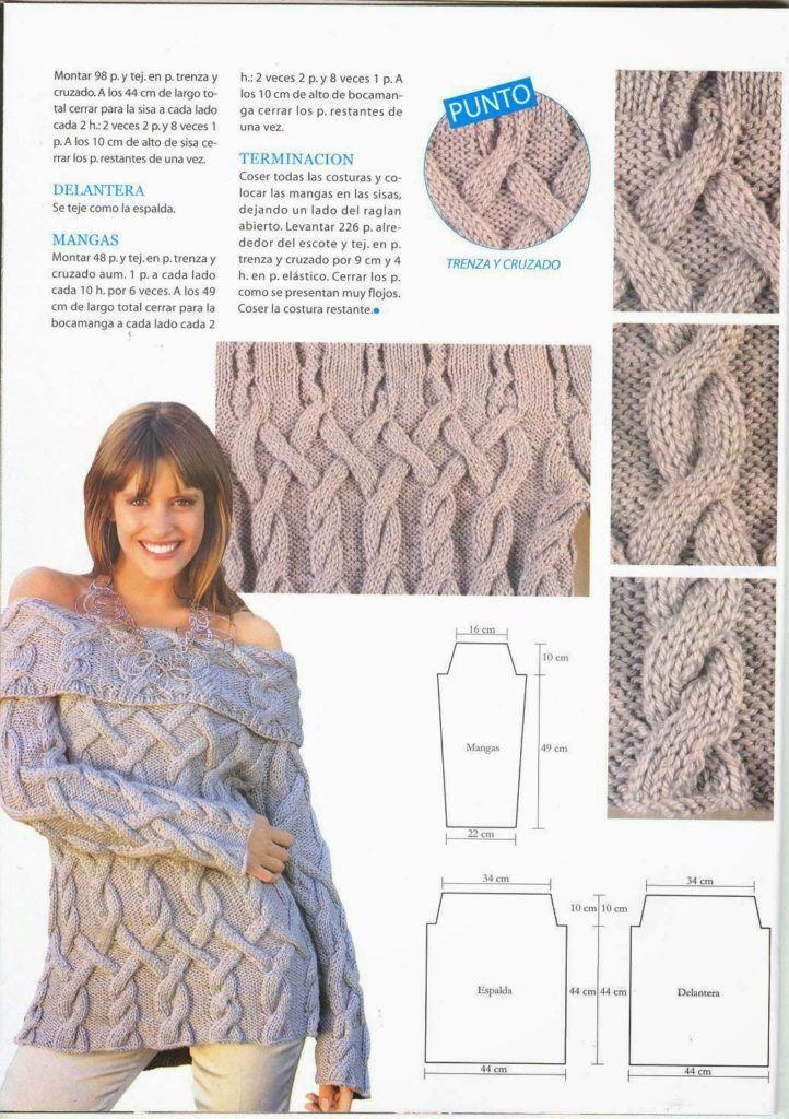 sweater hombros descubiertos | MUNDO DE LAS TEJEDORAS | Pinterest ...