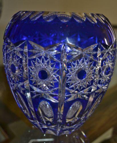 Rare Bohemian Cobalt Blue Cut To Clear Cut Glass Vase Collectibles