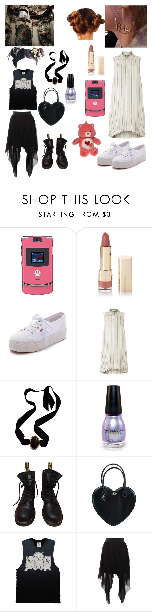 """""""Who are you witch or babydoll ?"""" by summersadness-446 ❤ liked on Polyvore featuring Motorola, Forever 21, Superga, Phase Eight, Yves Saint Laurent, Dr. Martens, Rare London and blackandwhite"""