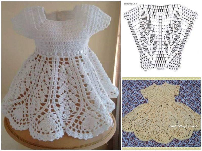 Beautiful Lotus Baby Dress Free Crochet Pattern | Tejido en crochet ...