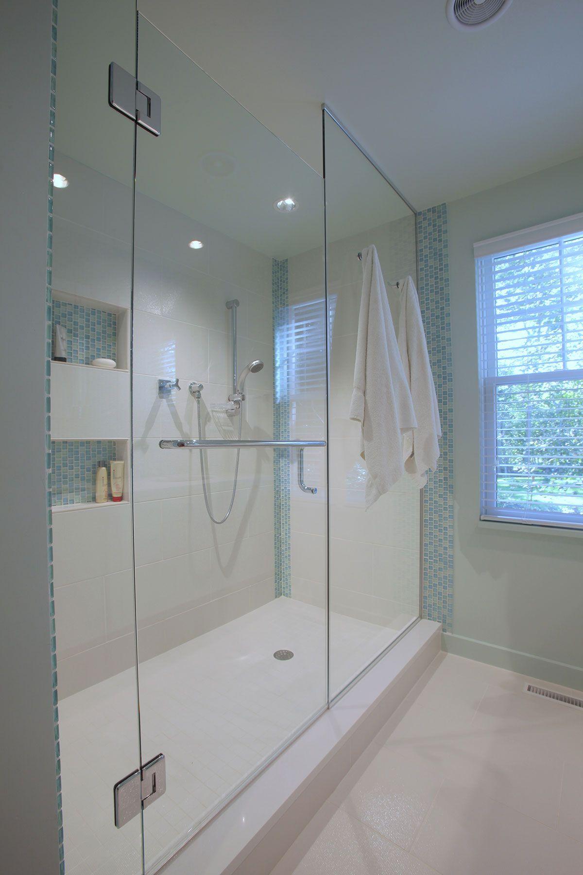 Blue Accent Tile Bathroom: Custom Built Cape Cod Bathroom With Blue Accent Tiles And