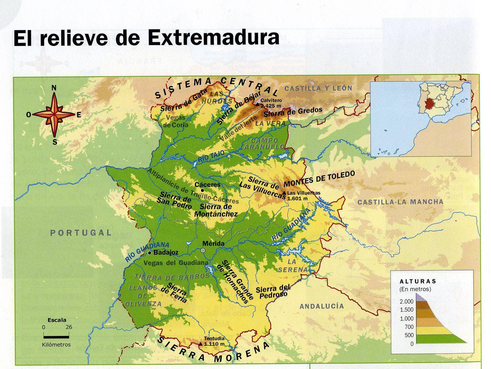 Sierra Morena Mapa Fisico.El Relieve De Extremadura Esta Definido Por Los Siguientes