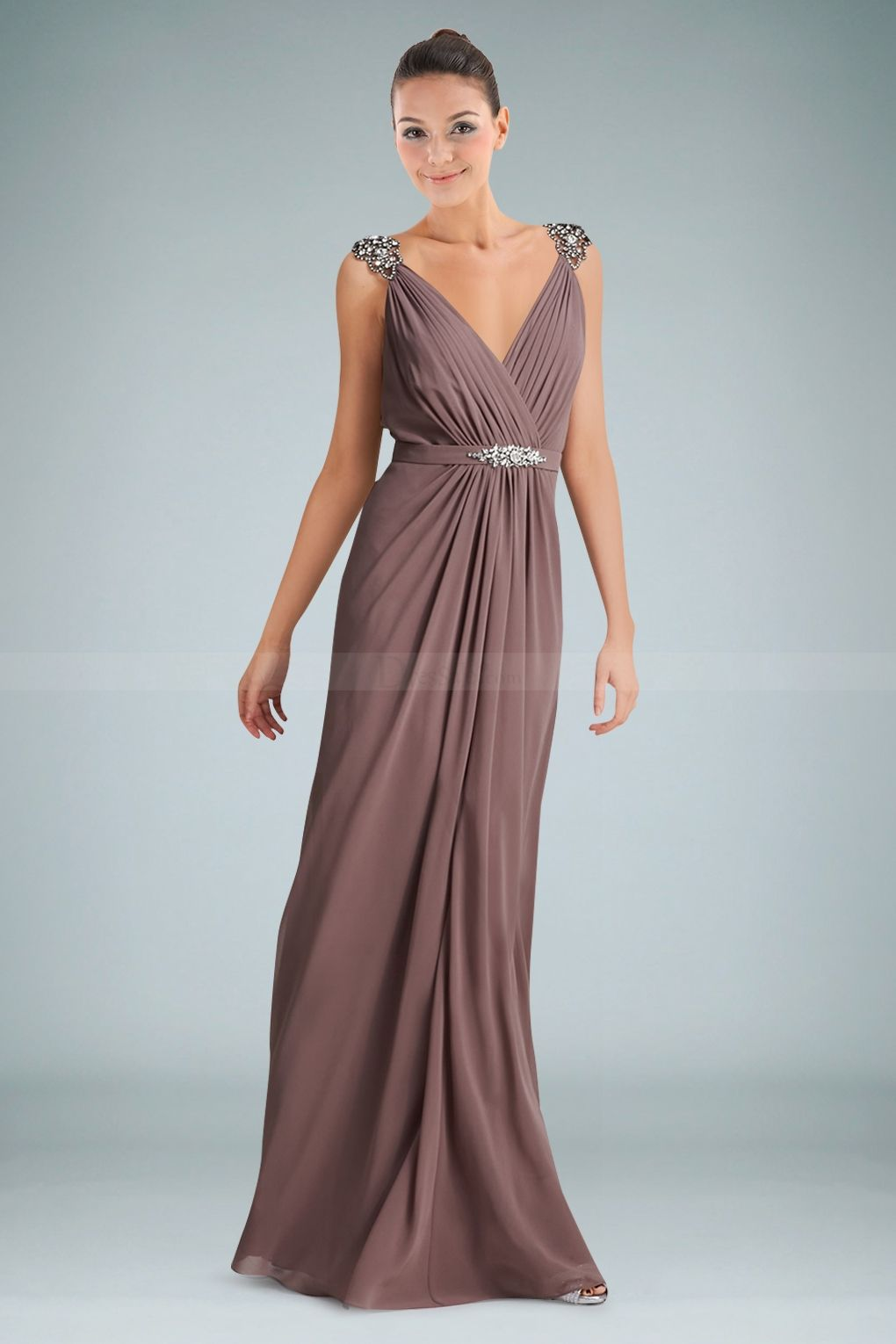 Fetching vneckline floor length evening dress with beads and ruches