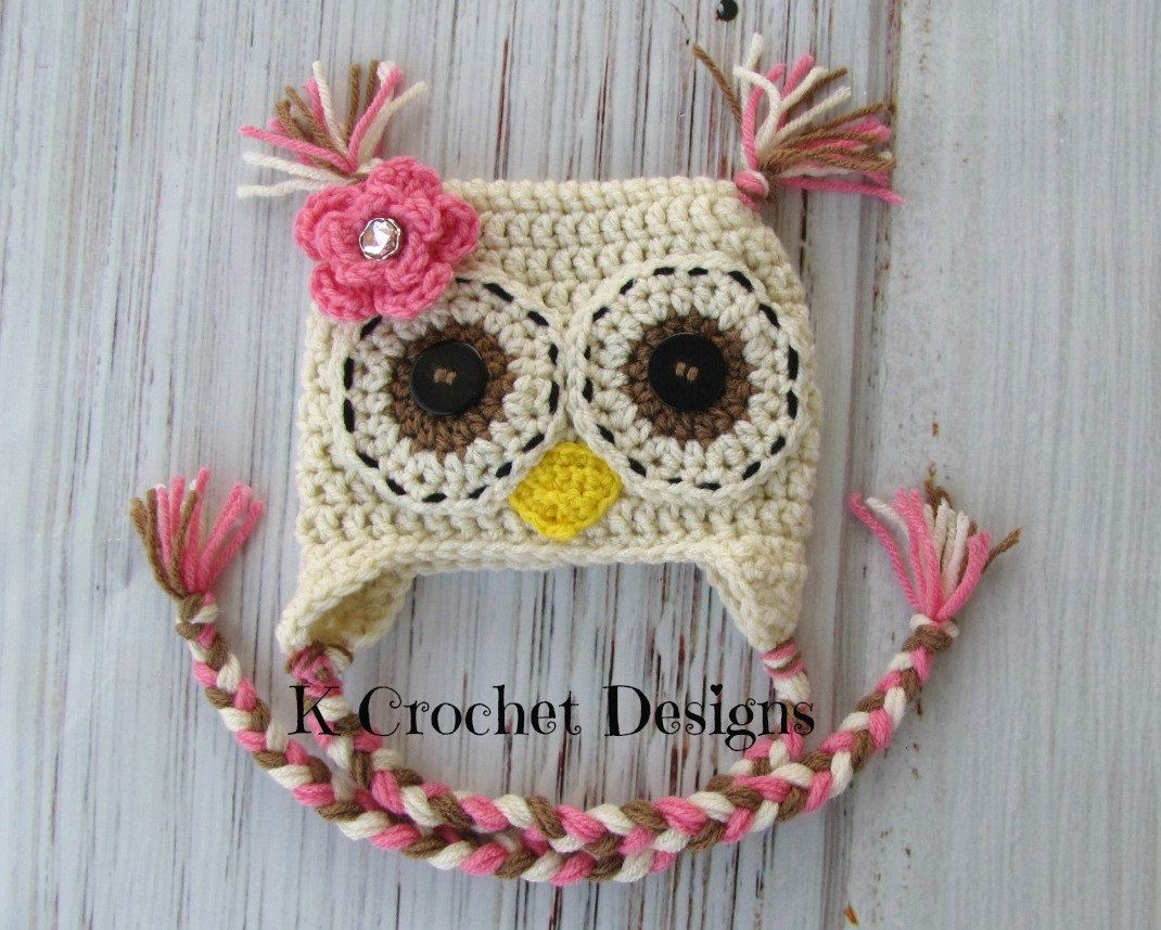 Crochet Owl Hat Baby Girl Owl Hat Flower Creamy Natural Pink And