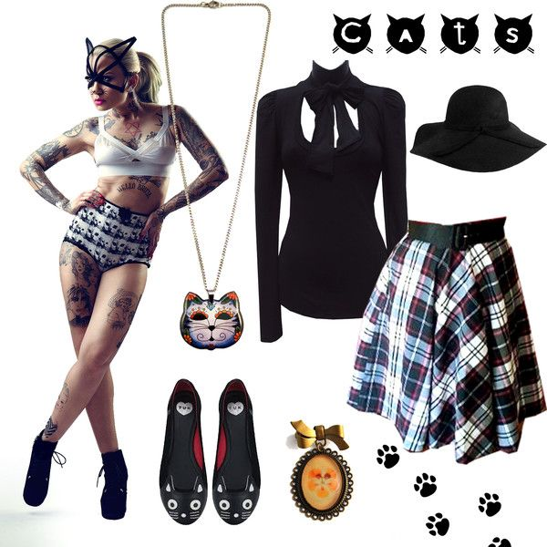 Kitty Cat themed outfit guide featuring Bonsai Kitten, Jubly-Umph and TUK