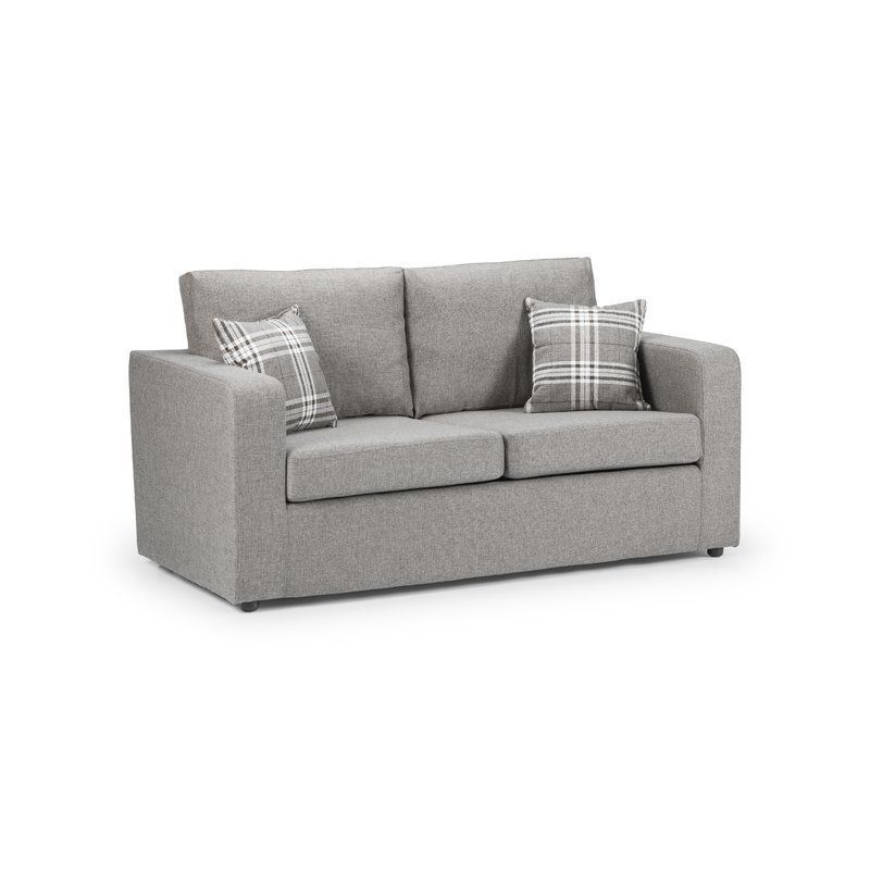 Fold Out 2 Seater Sofa Bed Single Grey Chenille Wooden Living Room Furniture Wooden Living Room Furniture Sofa 2 Seater Sofa