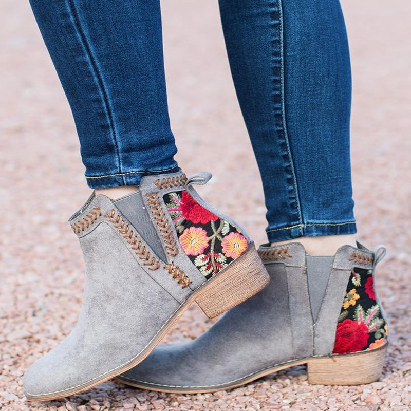 Embroidered Ankle Boots | Boots, Shoe