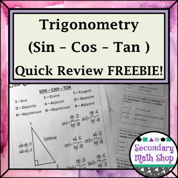 Sin Cos Tan Quick Review Freebie This Is A Quick Review Of The