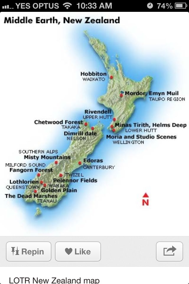 Tag Lord Of The Rings Sites New Zealand Map Waldon Protese De
