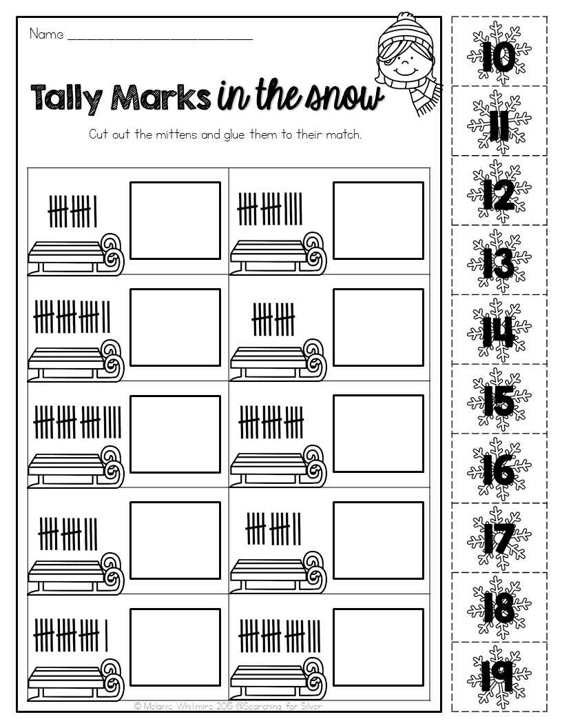 Tally Marks in the snow and LOTS of other winter math \u0026 literacy no-prep  printables for …   Winter math [ 1056 x 816 Pixel ]