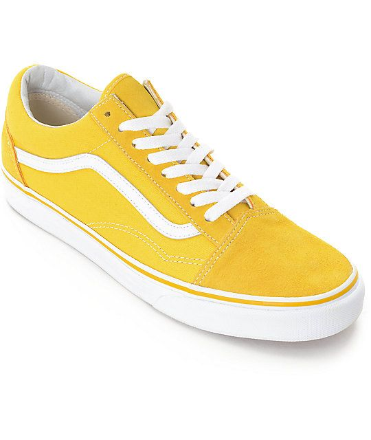 29d77c082b5f4f Grab classic retro styling with the Vans Old Skool Spectra Yellow and White Skate  Shoes. Embodying a canvas upper with a suede toe and heel along with ...