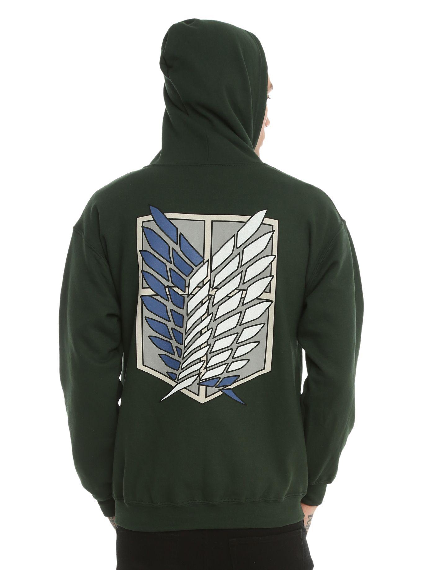 Attack on titan scout regiment shield zip hoodie hoodies