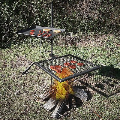 An Campfire Adjule Swivel Grill Fire Pit Cooking Grate Griddle Plate Bbq