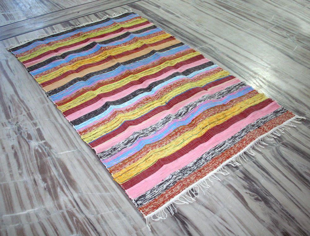 Vintage Woven Indian Rag Rug Chindi Throw Living Room Dhurrie Bohemian Kilim Mat Unbranded Ragrug Bohemian Yoga Mat Floor Area Rugs Rag Rug
