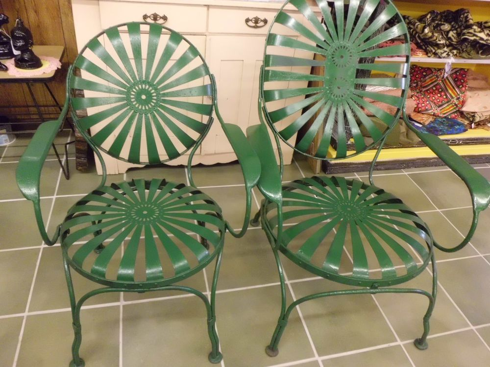 2 vintage french pinwheel patio outdoor furniture chairs spring steel chairs
