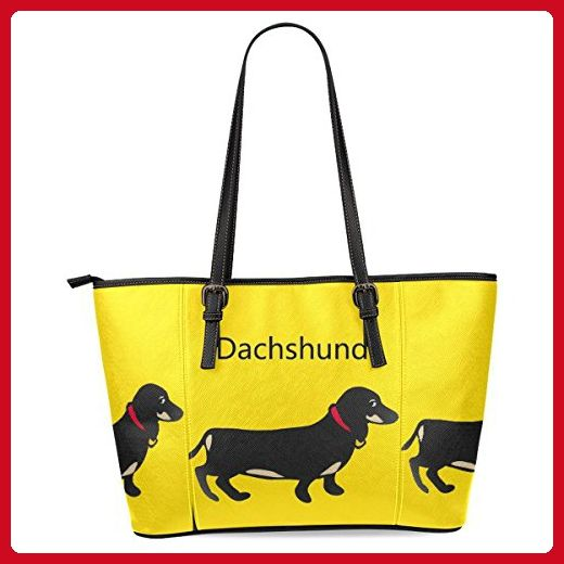 InterestPrint Dachshund Puppy Dog Tote Bag Leather Handle