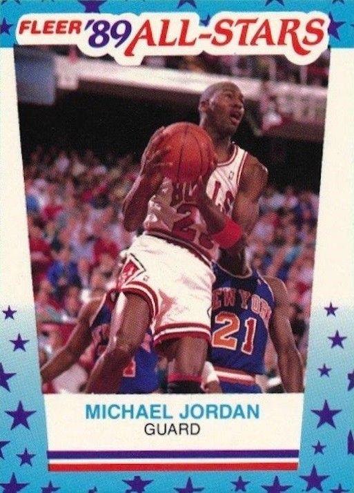 198990 Fleer Stickers 3 Michael Jordan Basketball Card