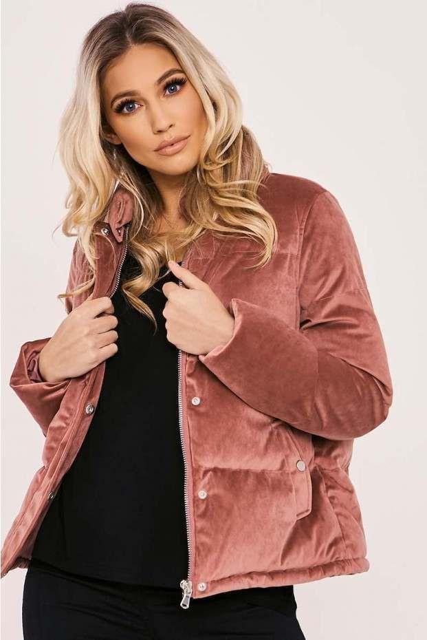 d669f3b21 Liora pink velvet padded puffer coat in 2019