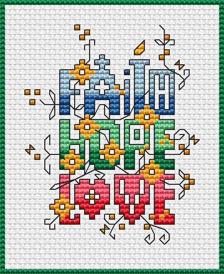 Dimensions Cross Stitch Patterns Free Chart Faith Hope Love
